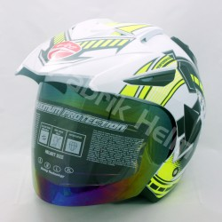 Helm Half Face Alice Pet Motif Speed War Putih/Hijau Stabilo