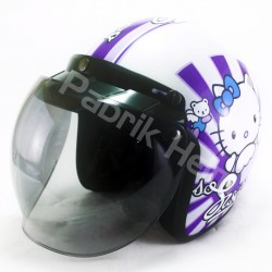 Helm Alice Retro Motif Hello Kitty Sweet Putih Glossy