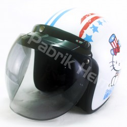 Helm Alice Retro Motif Hello Kitty America Putih Glossy