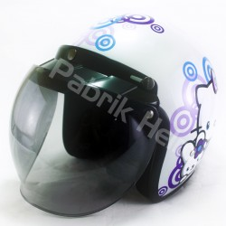 Helm Alice Retro Motif Hello Kitty Putih Glossy