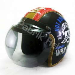 Helm Alice Retro Tali Sepatu Motif Hot Rod